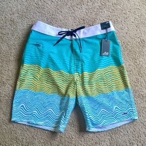 LOST Boardshorts Swim Trunks Teal/Yellow Stripes